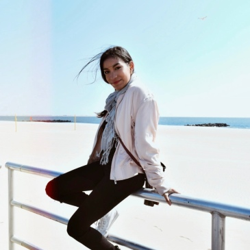 Coney Island fashion blog Samira navas bomber jacket